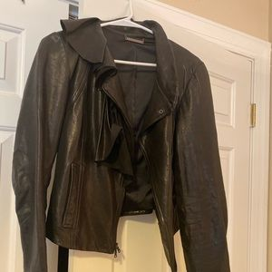DVF 100% real genuine leather short jacket